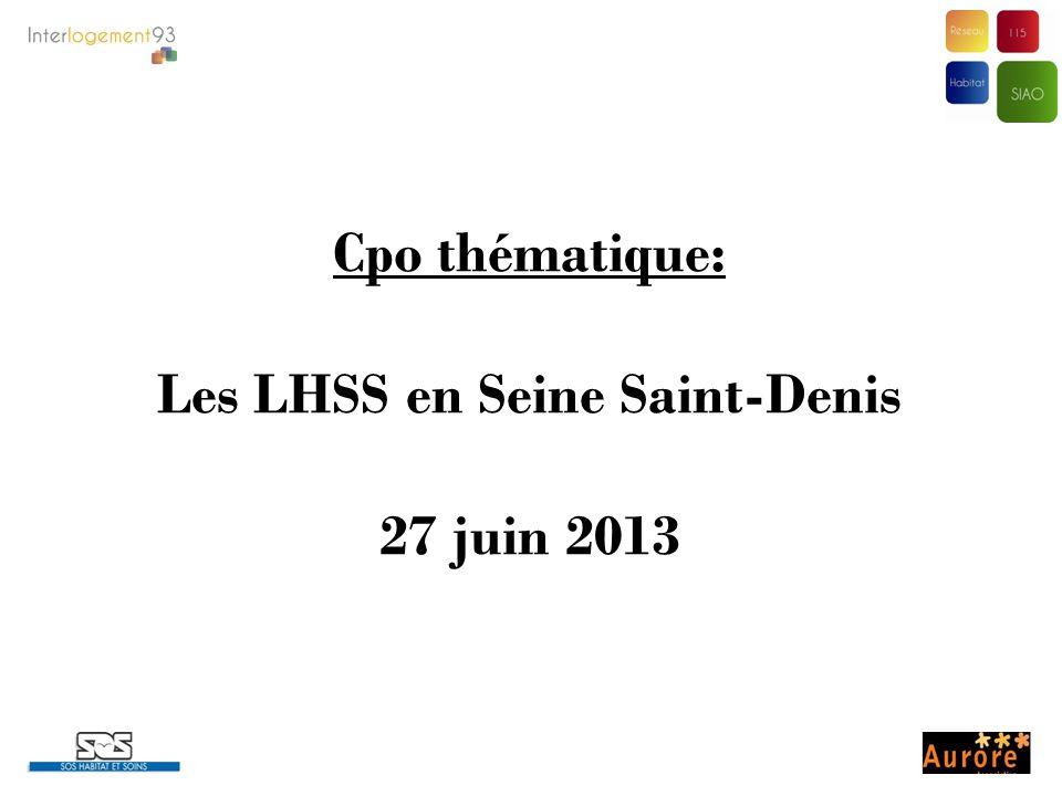 Cpo thématique: Les LHSS en Seine Saint-Denis 27 juin 2013