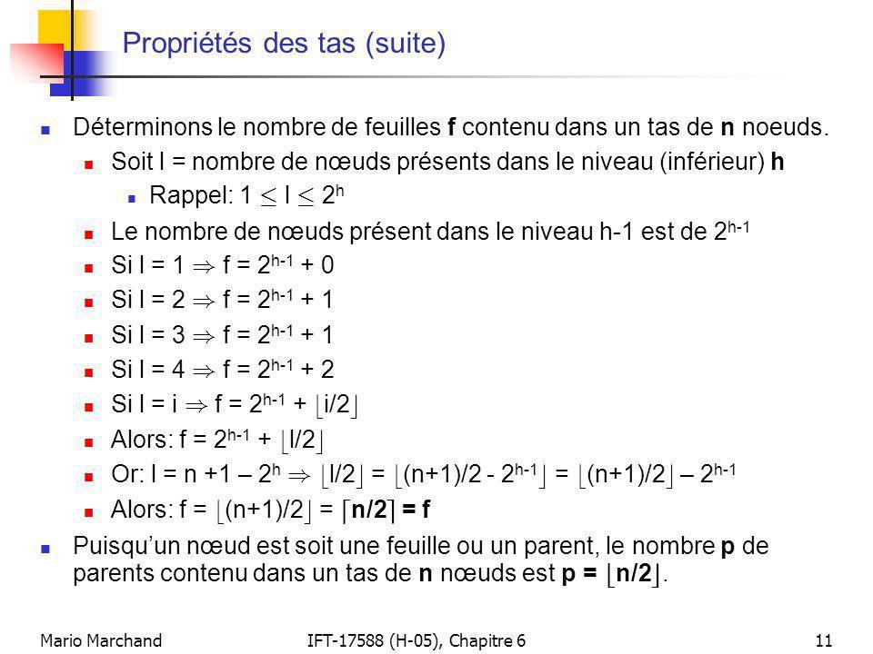 Mario MarchandIFT-17588 (H-05), Chapitre 611 Propriétés des tas (suite)  Déterminons le nombre de feuilles f contenu dans un tas de n noeuds.  Soit