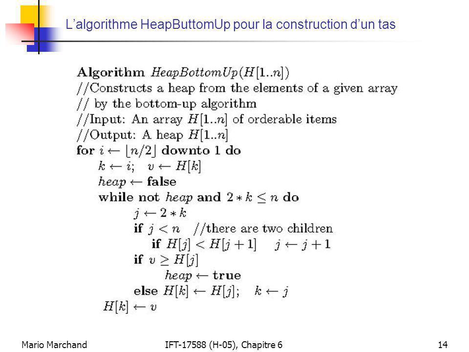 Mario MarchandIFT-17588 (H-05), Chapitre 614 L'algorithme HeapButtomUp pour la construction d'un tas