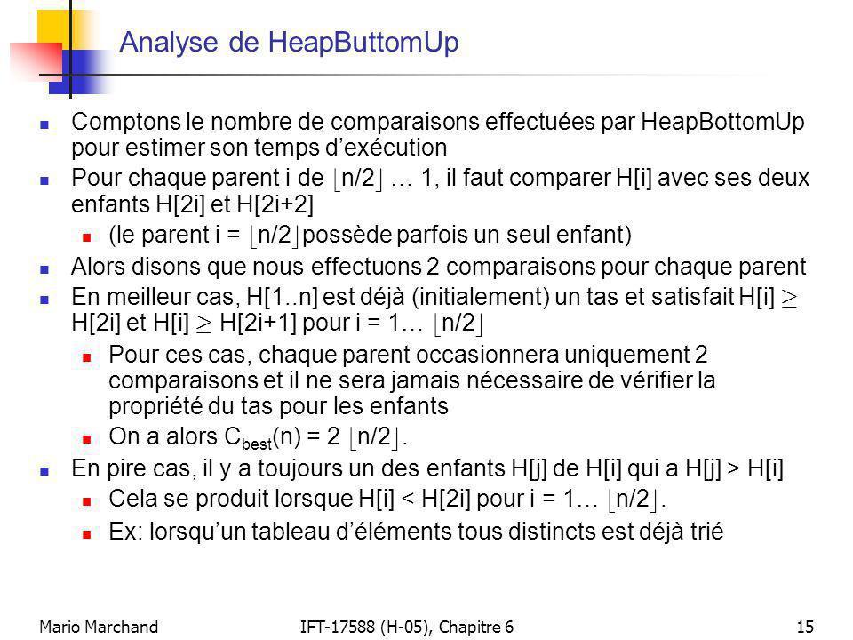 Mario MarchandIFT-17588 (H-05), Chapitre 615 Analyse de HeapButtomUp  Comptons le nombre de comparaisons effectuées par HeapBottomUp pour estimer son