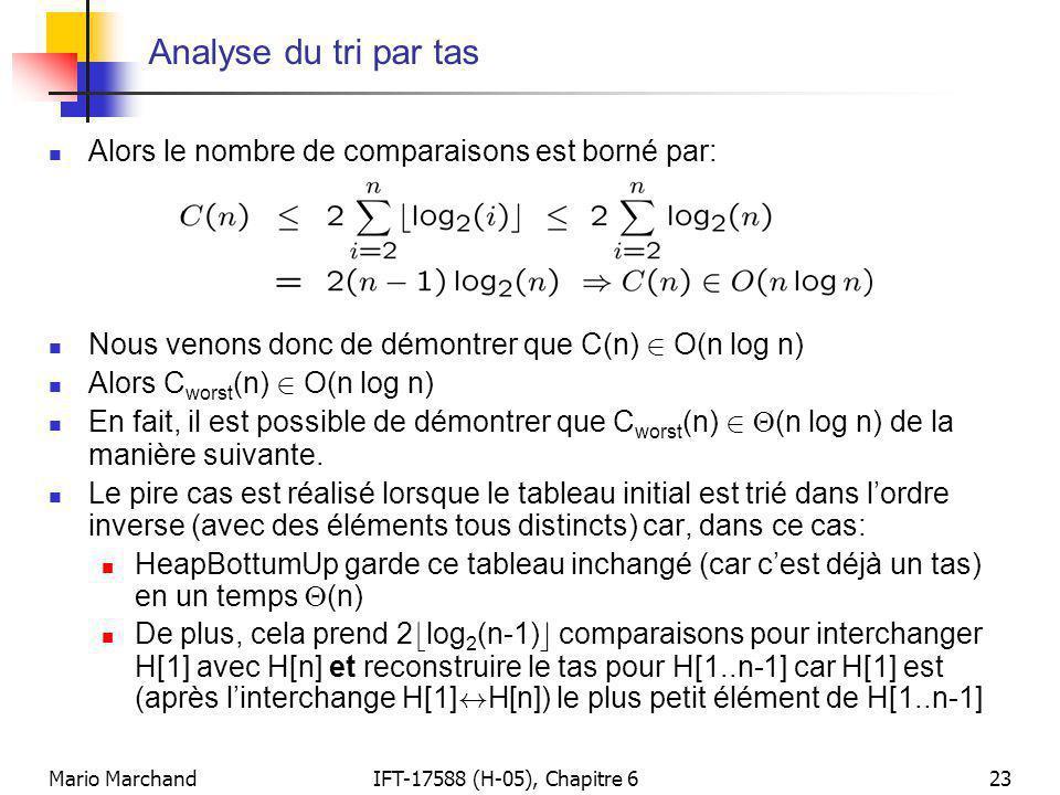 Mario MarchandIFT-17588 (H-05), Chapitre 623 Analyse du tri par tas  Alors le nombre de comparaisons est borné par:  Nous venons donc de démontrer q