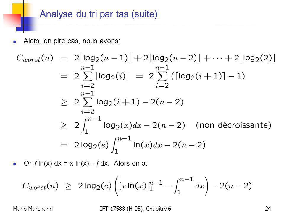 Mario MarchandIFT-17588 (H-05), Chapitre 624 Analyse du tri par tas (suite)  Alors, en pire cas, nous avons:  Or s ln(x) dx = x ln(x) - s dx. Alors