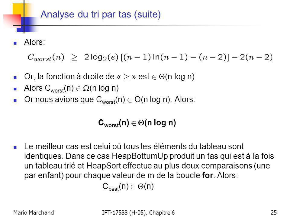 Mario MarchandIFT-17588 (H-05), Chapitre 625 Analyse du tri par tas (suite)  Alors:  Or, la fonction à droite de « ¸ » est 2  (n log n)  Alors C w