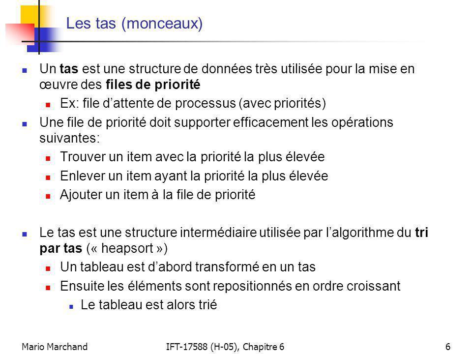 Mario MarchandIFT-17588 (H-05), Chapitre 66 Les tas (monceaux)  Un tas est une structure de données très utilisée pour la mise en œuvre des files de