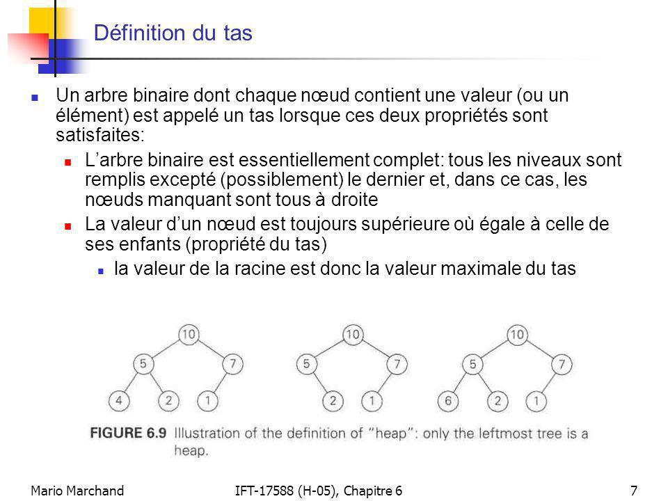 Mario MarchandIFT-17588 (H-05), Chapitre 67 Définition du tas  Un arbre binaire dont chaque nœud contient une valeur (ou un élément) est appelé un ta