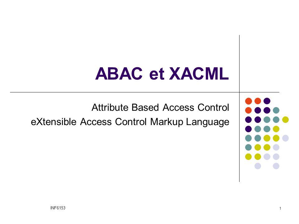 ABAC et XACML  ABAC = Attribute Based Access Control  XACML = eXtensible Access Control Markup Language  ABAC est un modèle de contrôle d'accès  XACML est un langage standardisé utilisant le modèle ABAC INF6153 2