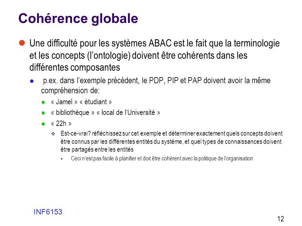Cohérence globale  Une difficulté pour les systèmes ABAC est le fait que la terminologie et les concepts (l'ontologie) doivent être cohérents dans le