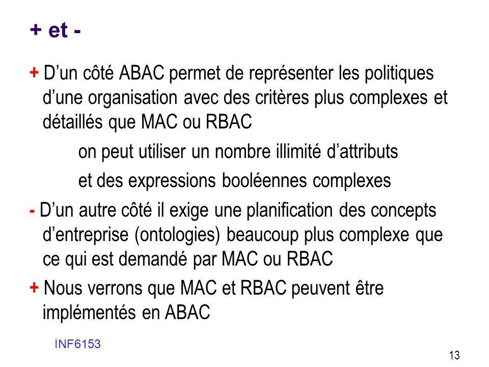 + et - + D'un côté ABAC permet de représenter les politiques d'une organisation avec des critères plus complexes et détaillés que MAC ou RBAC on peut