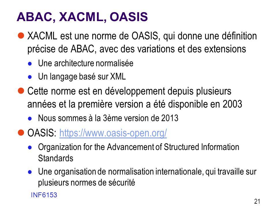 ABAC, XACML, OASIS  XACML est une norme de OASIS, qui donne une définition précise de ABAC, avec des variations et des extensions  Une architecture