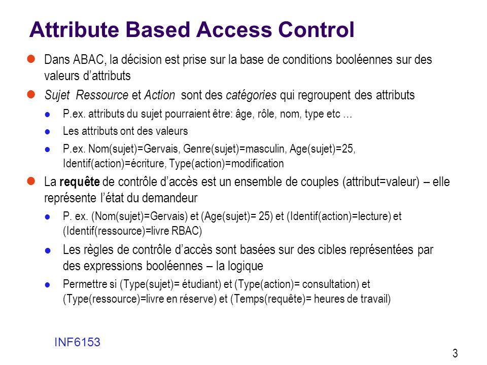 Attribute Based Access Control  Dans ABAC, la décision est prise sur la base de conditions booléennes sur des valeurs d'attributs  Sujet Ressource e