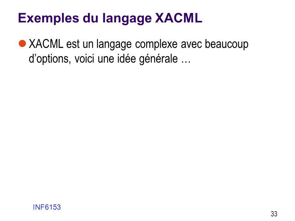 Exemples du langage XACML  XACML est un langage complexe avec beaucoup d'options, voici une idée générale … INF6153 33