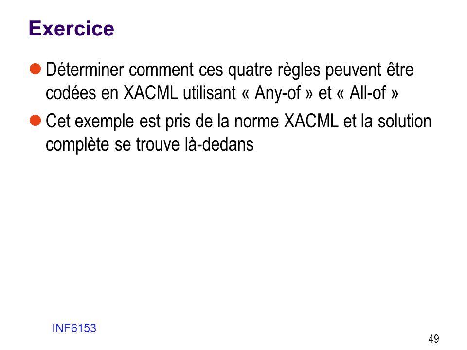 Exercice  Déterminer comment ces quatre règles peuvent être codées en XACML utilisant « Any-of » et « All-of »  Cet exemple est pris de la norme XAC