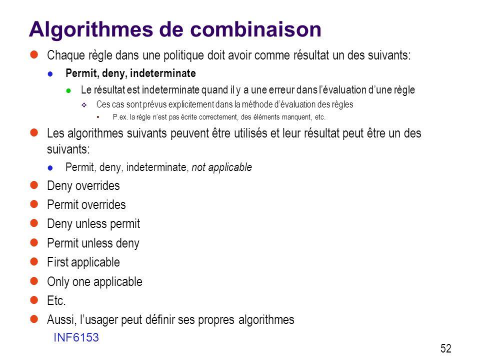 Algorithmes de combinaison  Chaque règle dans une politique doit avoir comme résultat un des suivants:  Permit, deny, indeterminate  Le résultat es