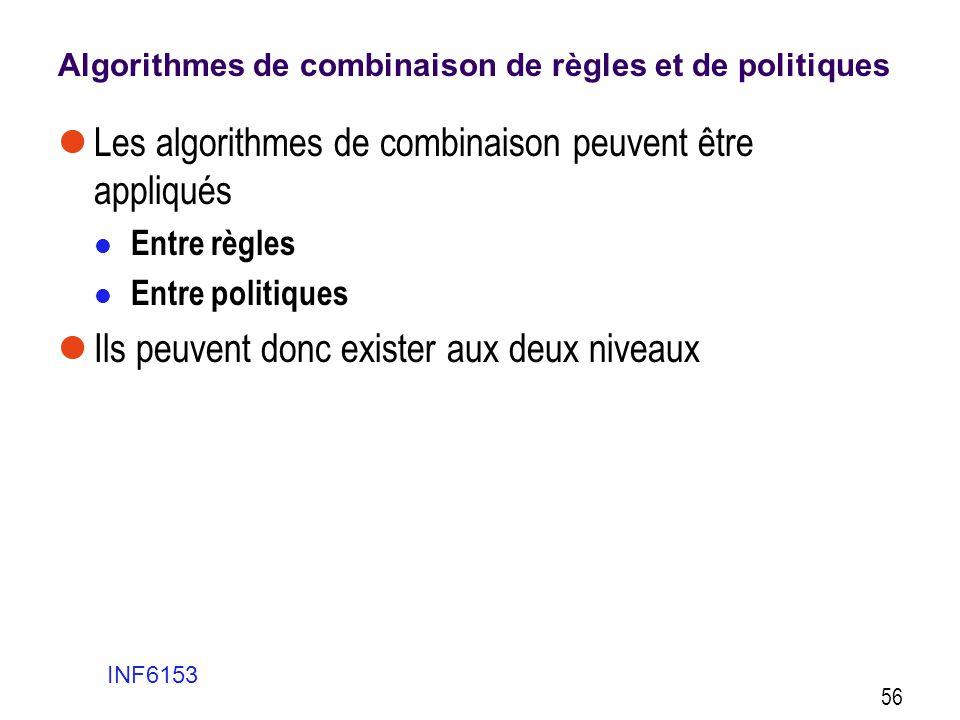 Algorithmes de combinaison de règles et de politiques  Les algorithmes de combinaison peuvent être appliqués  Entre règles  Entre politiques  Ils