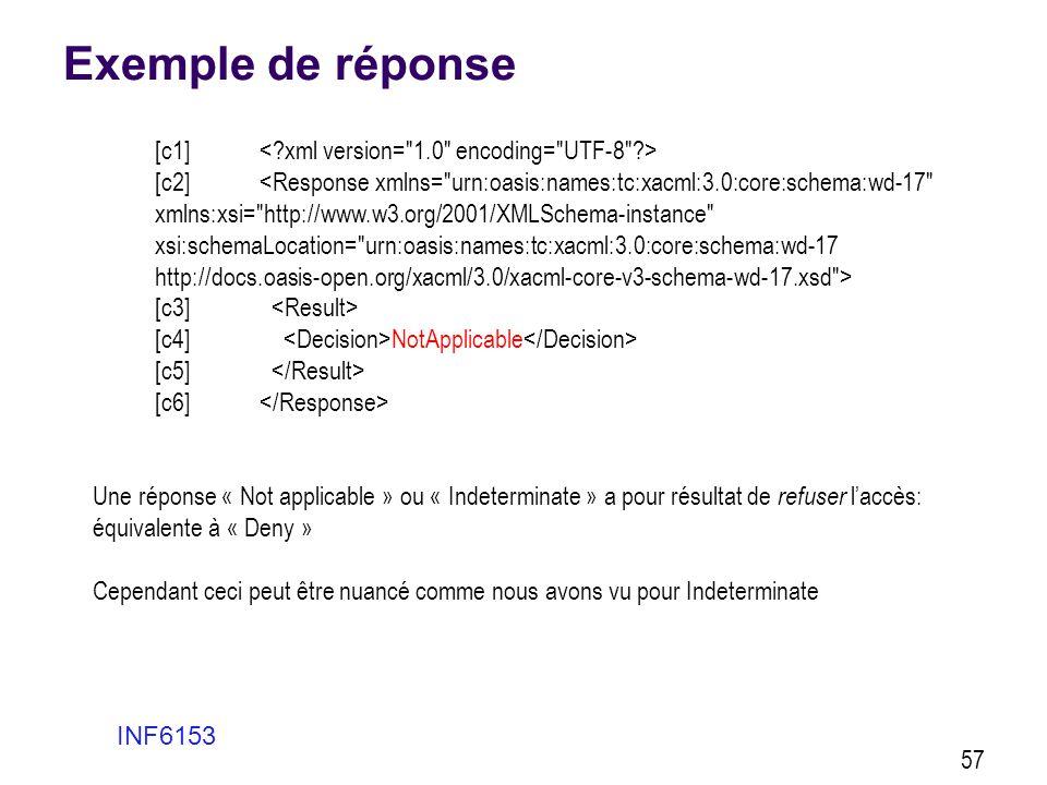 Exemple de réponse INF6153 57 [c1] [c2] [c3] [c4] NotApplicable [c5] [c6] Une réponse « Not applicable » ou « Indeterminate » a pour résultat de refus