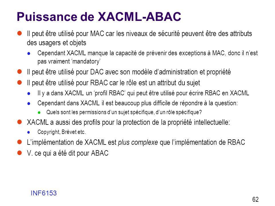Puissance de XACML-ABAC  Il peut être utilisé pour MAC car les niveaux de sécurité peuvent être des attributs des usagers et objets  Cependant XACML