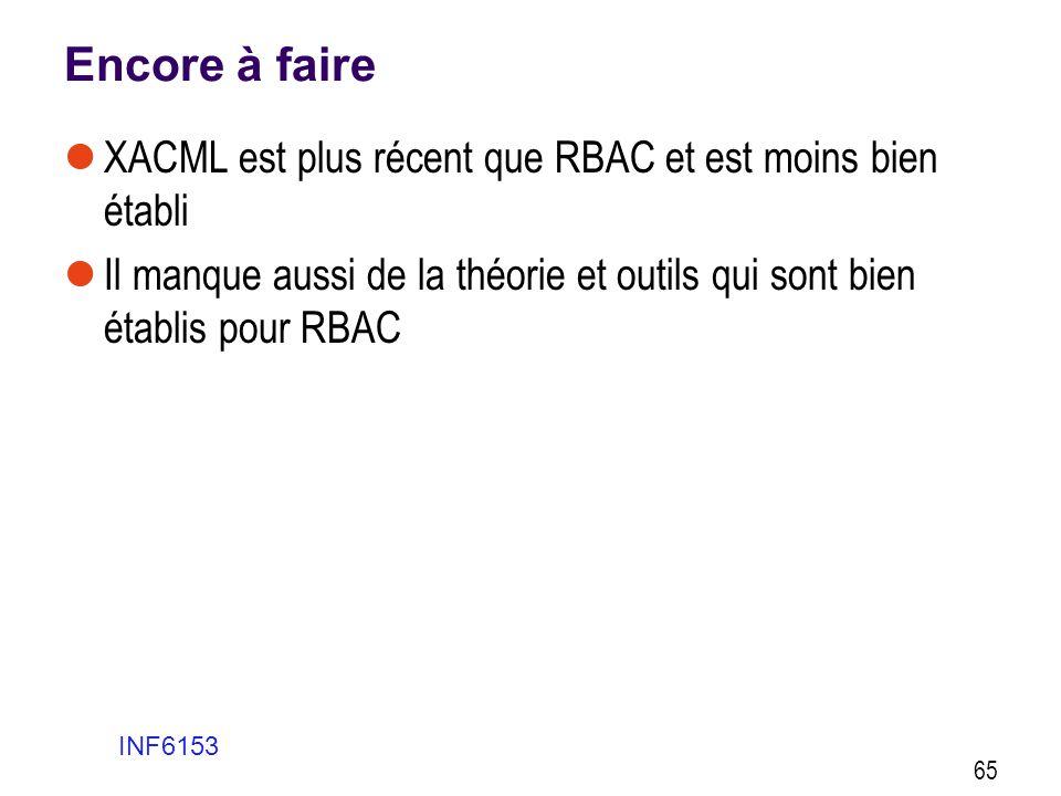 Encore à faire  XACML est plus récent que RBAC et est moins bien établi  Il manque aussi de la théorie et outils qui sont bien établis pour RBAC INF