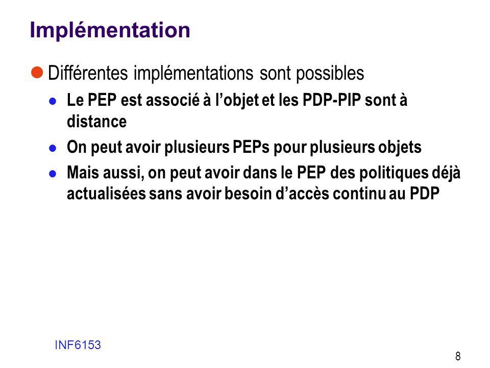 Implémentation  Différentes implémentations sont possibles  Le PEP est associé à l'objet et les PDP-PIP sont à distance  On peut avoir plusieurs PE
