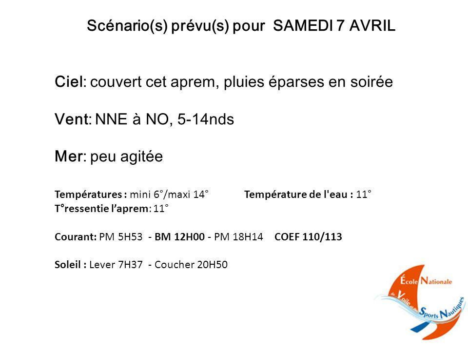 Scénario(s) prévu(s) pour SAMEDI 7 AVRIL Ciel: couvert cet aprem, pluies éparses en soirée Vent: NNE à NO, 5-14nds Mer: peu agitée Températures : mini 6°/maxi 14° Température de l eau : 11° T°ressentie l'aprem: 11° Courant: PM 5H53 - BM 12H00 - PM 18H14 COEF 110/113 Soleil : Lever 7H37 - Coucher 20H50