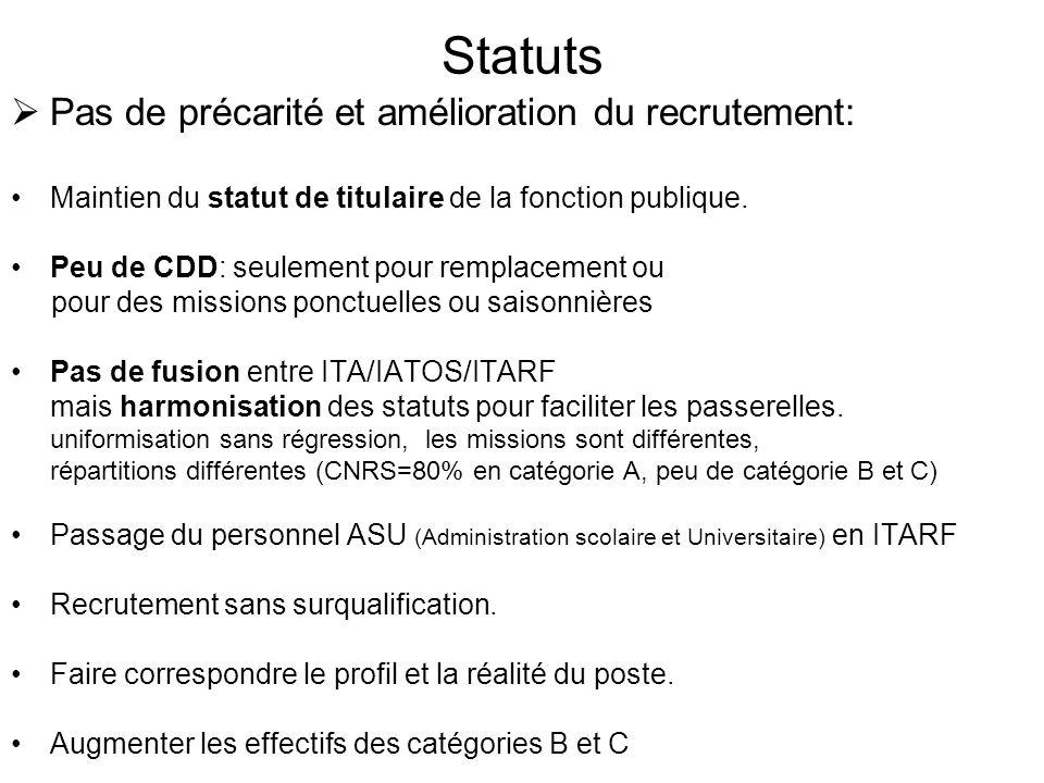 Statuts  Pas de précarité et amélioration du recrutement: •Maintien du statut de titulaire de la fonction publique.