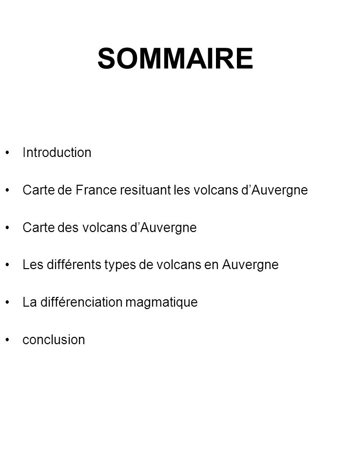 SOMMAIRE •Introduction •Carte de France resituant les volcans d'Auvergne •Carte des volcans d'Auvergne •Les différents types de volcans en Auvergne •L