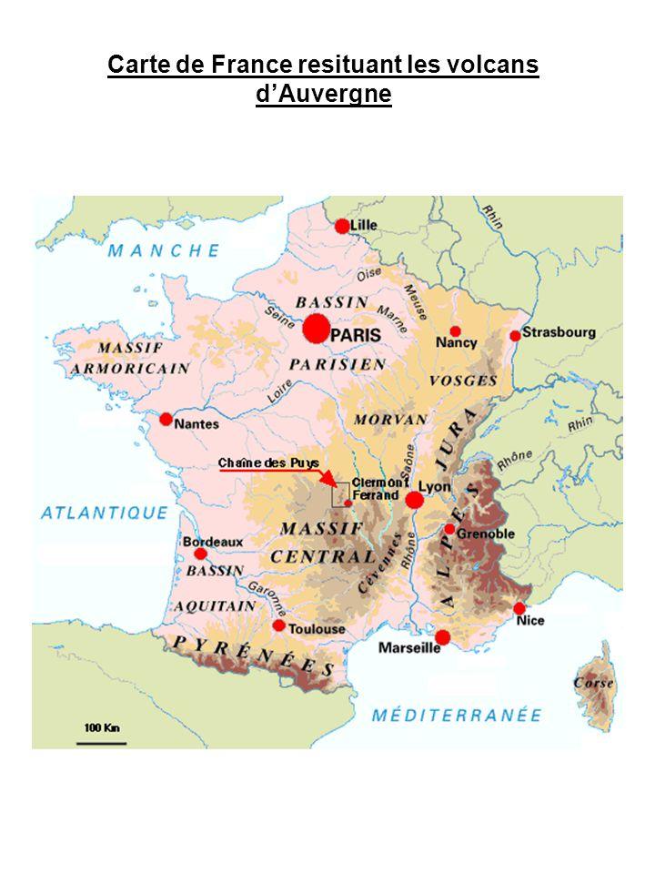 Etape 2 : Dans le massif du Cantal, le magma fluide a trouvé une faille, il est remonté avant le magma visqueux et cela a formé des cônes.