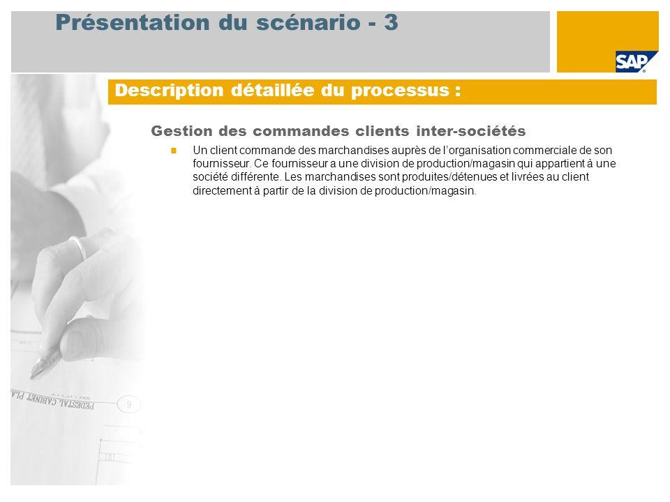 Présentation du scénario - 3 Gestion des commandes clients inter-sociétés  Un client commande des marchandises auprès de l'organisation commerciale de son fournisseur.