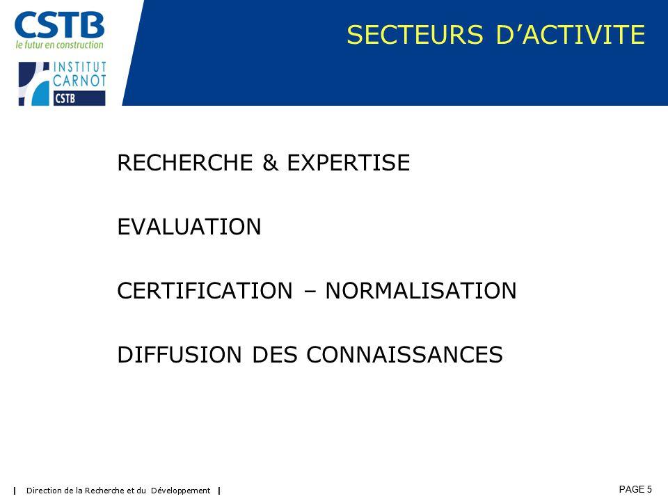 | Direction de la Recherche et du Développement | PAGE 6 | Direction de la Recherche et du Développement | PAGE 6 CSTB Activités & Approche Budgétaire | Direction de la Recherche et du Développement | PAGE 6 Part R&D Cofinancée réalisée par Acteurs Socio Economiques SCSP Subvention Charge Service Public 18,6 Grenelle 1,2 R&D SCSP 100% 11 R&D Cofinancée Part SCSP 6,3 R&D Cofinancée Part Acteurs Socio Eco 6,4 Carnot - Expertises & Etudes non éligibles 5 Support Politiques Publiques Expertises & Etudes 4 Evaluation 33,1 Certification 16,6 Diffusion Connaissances 6,5 ~ 45 M€ 2/3 fonds publics Carnot - R&D Partenariale éligible 7,1 Programme Doctoral 2,5 ~ 40 M € EVALUATION & DIFFUSION RECHERCHE & EXPERTISE