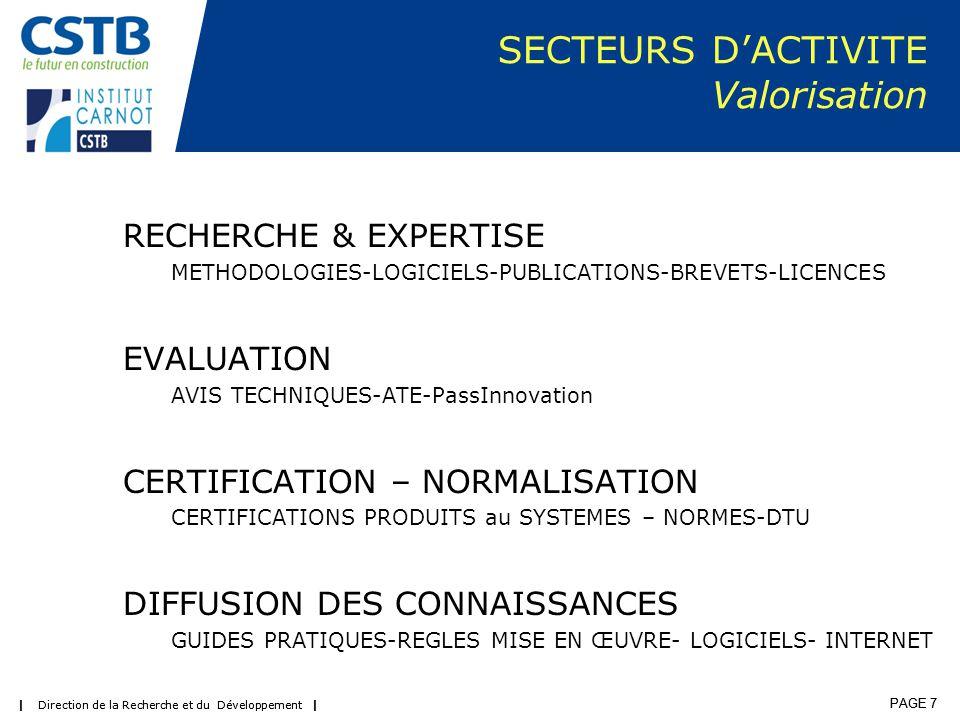 | Direction de la Recherche et du Développement | PAGE 7 | Direction de la Recherche et du Développement | PAGE 7 SECTEURS D'ACTIVITE Valorisation RECHERCHE & EXPERTISE METHODOLOGIES-LOGICIELS-PUBLICATIONS-BREVETS-LICENCES EVALUATION AVIS TECHNIQUES-ATE-PassInnovation CERTIFICATION – NORMALISATION CERTIFICATIONS PRODUITS au SYSTEMES – NORMES-DTU DIFFUSION DES CONNAISSANCES GUIDES PRATIQUES-REGLES MISE EN ŒUVRE- LOGICIELS- INTERNET