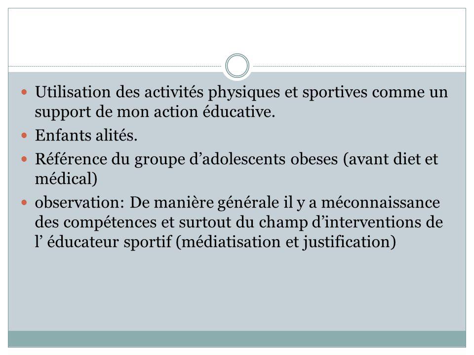  Utilisation des activités physiques et sportives comme un support de mon action éducative.  Enfants alités.  Référence du groupe d'adolescents obe
