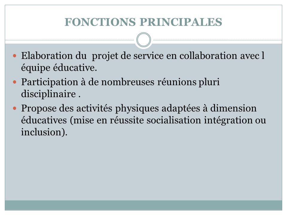 FONCTIONS PRINCIPALES  Elaboration du projet de service en collaboration avec l équipe éducative.  Participation à de nombreuses réunions pluri disc