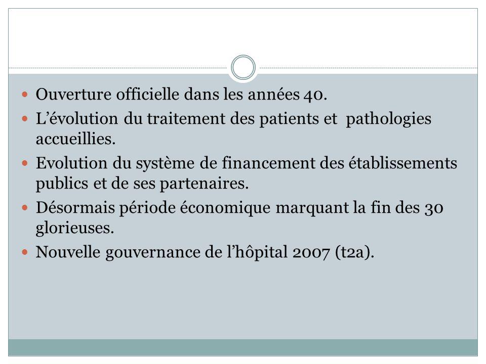  Ouverture officielle dans les années 40.  L'évolution du traitement des patients et pathologies accueillies.  Evolution du système de financement