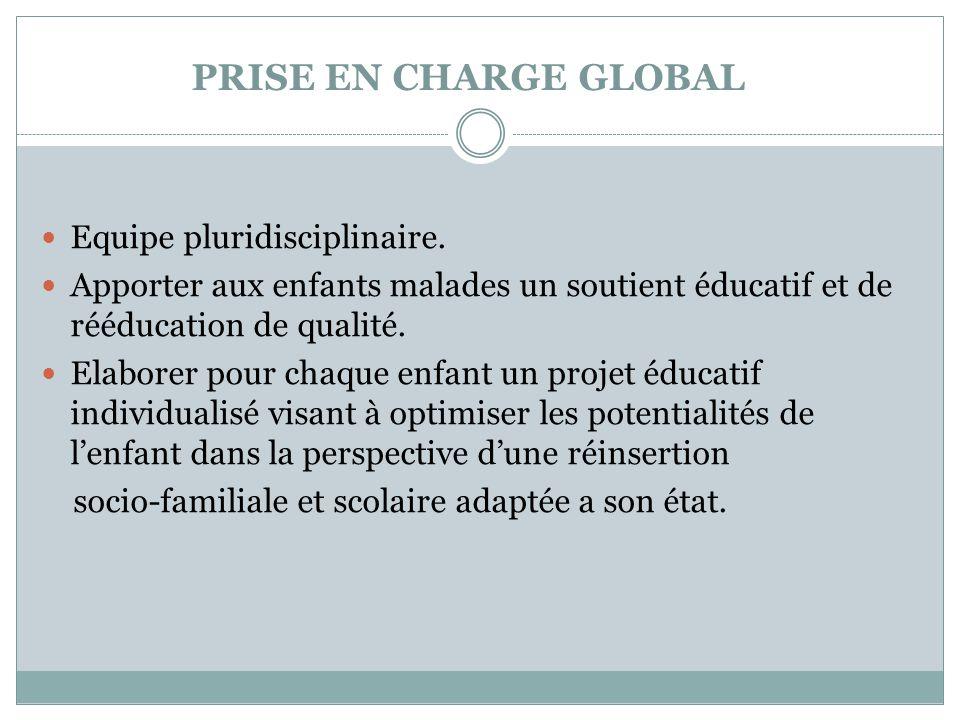 PRISE EN CHARGE GLOBAL  Equipe pluridisciplinaire.  Apporter aux enfants malades un soutient éducatif et de rééducation de qualité.  Elaborer pour