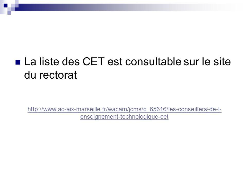  La liste des CET est consultable sur le site du rectorat http://www.ac-aix-marseille.fr/wacam/jcms/c_65616/les-conseillers-de-l- enseignement-technologique-cet