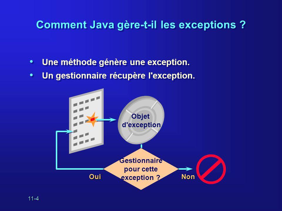11-4 Comment Java gère-t-il les exceptions ? • Une méthode génère une exception. • Un gestionnaire récupère l'exception. • Une méthode génère une exce