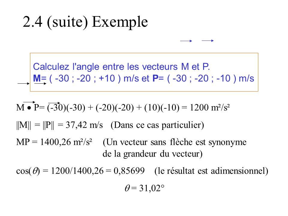 Calculez l'angle entre les vecteurs M et P. M= ( -30 ; -20 ; +10 ) m/s et P= ( -30 ; -20 ; -10 ) m/s M  P= (-30)(-30) + (-20)(-20) + (10)(-10) = 1200