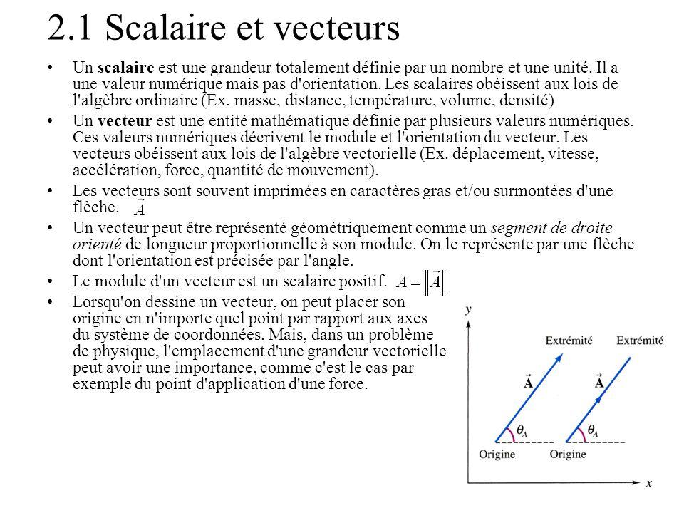 2.1 Scalaire et vecteurs •Un scalaire est une grandeur totalement définie par un nombre et une unité. Il a une valeur numérique mais pas d'orientation