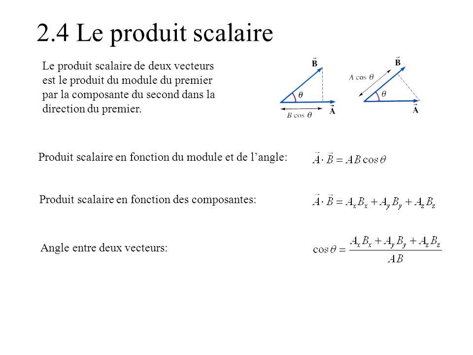 2.4 Le produit scalaire Produit scalaire en fonction du module et de l'angle: Produit scalaire en fonction des composantes: Angle entre deux vecteurs: