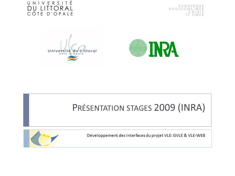 P RÉSENTATION STAGES 2009 (INRA) Développement des interfaces du projet VLE: GVLE & VLE-WEB