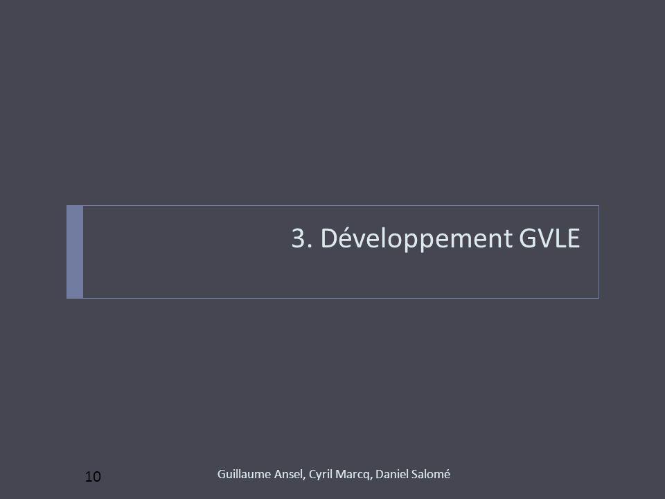 3. Développement GVLE Guillaume Ansel, Cyril Marcq, Daniel Salomé 10