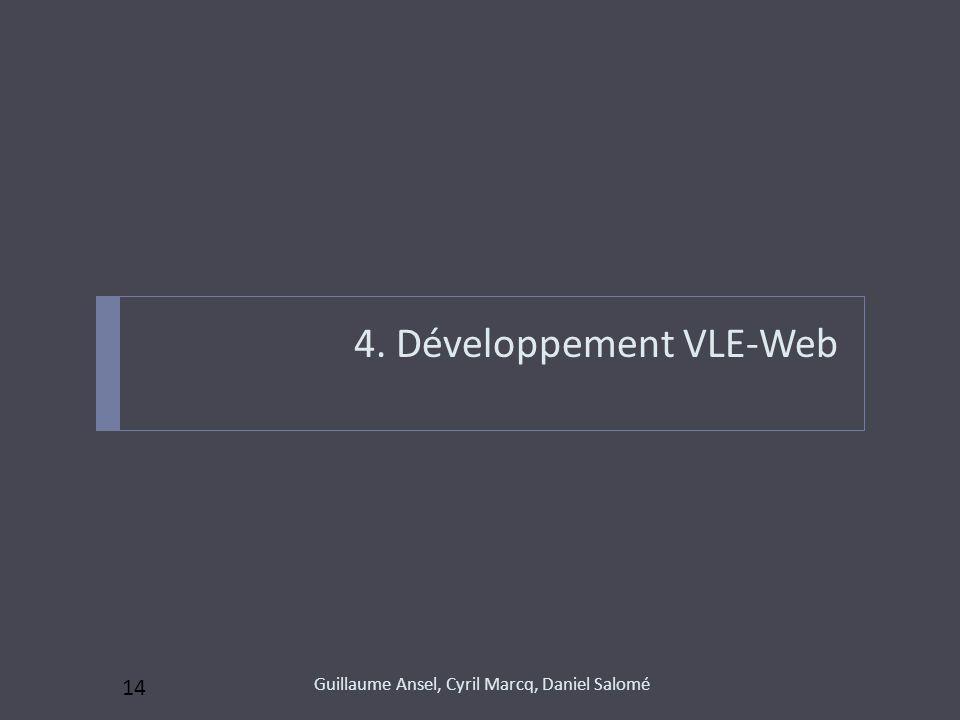 4. Développement VLE-Web Guillaume Ansel, Cyril Marcq, Daniel Salomé 14