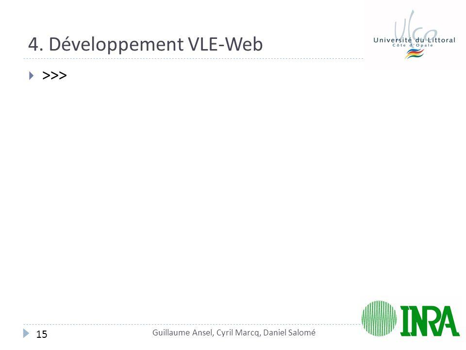 4. Développement VLE-Web  >>> Guillaume Ansel, Cyril Marcq, Daniel Salomé 15