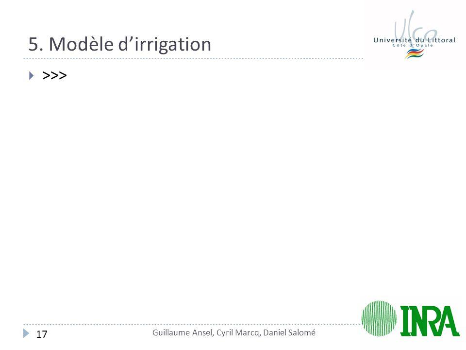 5. Modèle d'irrigation  >>> Guillaume Ansel, Cyril Marcq, Daniel Salomé 17