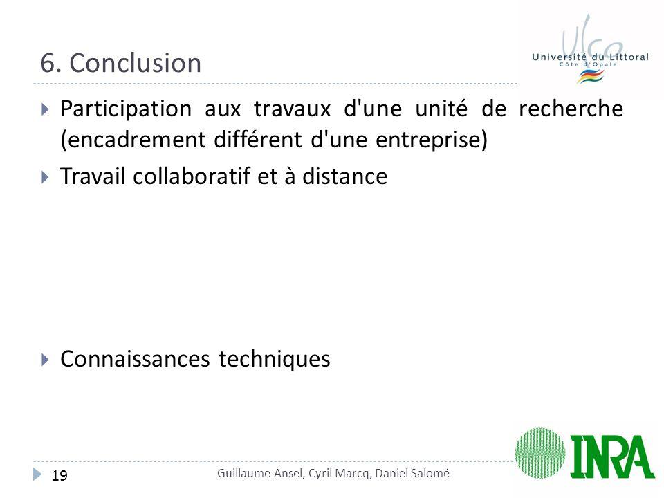 6. Conclusion  Participation aux travaux d'une unité de recherche (encadrement différent d'une entreprise)  Travail collaboratif et à distance  Con