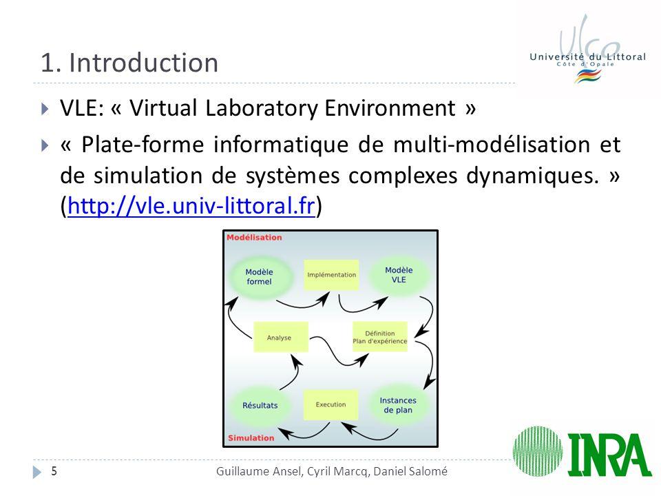 1. Introduction 5  VLE: « Virtual Laboratory Environment »  « Plate-forme informatique de multi-modélisation et de simulation de systèmes complexes