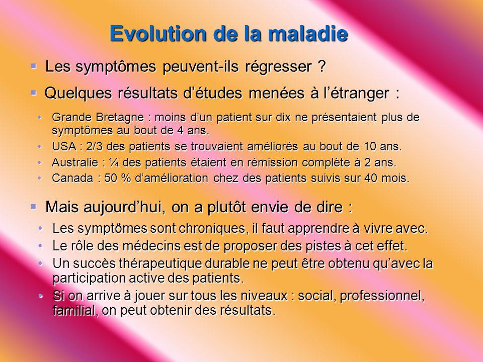 Evolution de la maladie  Les symptômes peuvent-ils régresser ?  Quelques résultats d'études menées à l'étranger : • Grande Bretagne : moins d'un pat