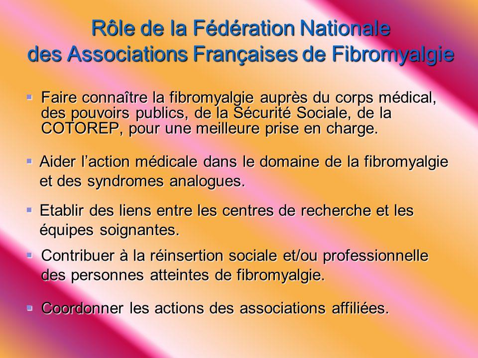 Rôle de la Fédération Nationale des Associations Françaises de Fibromyalgie  Faire connaître la fibromyalgie auprès du corps médical, des pouvoirs pu