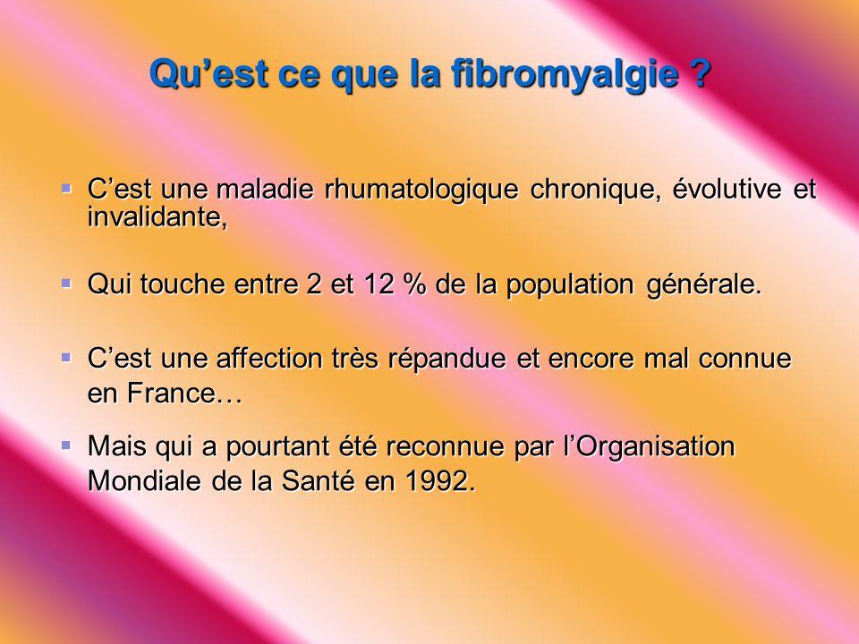 Rôle de la Fédération Nationale des Associations Françaises de Fibromyalgie  Faire connaître la fibromyalgie auprès du corps médical, des pouvoirs publics, de la Sécurité Sociale, de la COTOREP, pour une meilleure prise en charge.