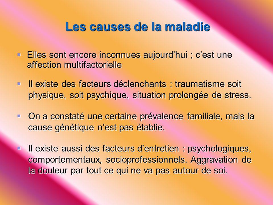 Les causes de la maladie  Elles sont encore inconnues aujourd'hui ; c'est une affection multifactorielle  Il existe des facteurs déclenchants : trau