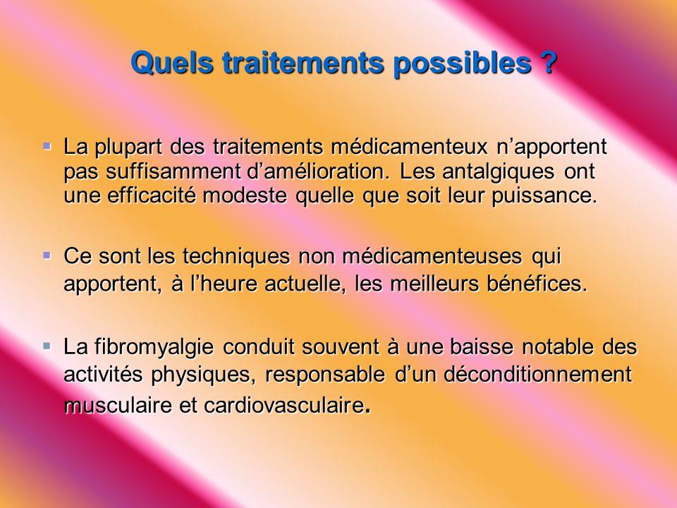 Quels traitements possibles ?  La plupart des traitements médicamenteux n'apportent pas suffisamment d'amélioration. Les antalgiques ont une efficaci